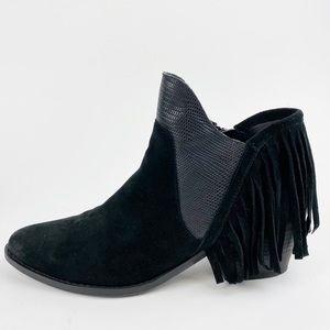Reba Fringe Western Ankle Boot Mixed Leather II481